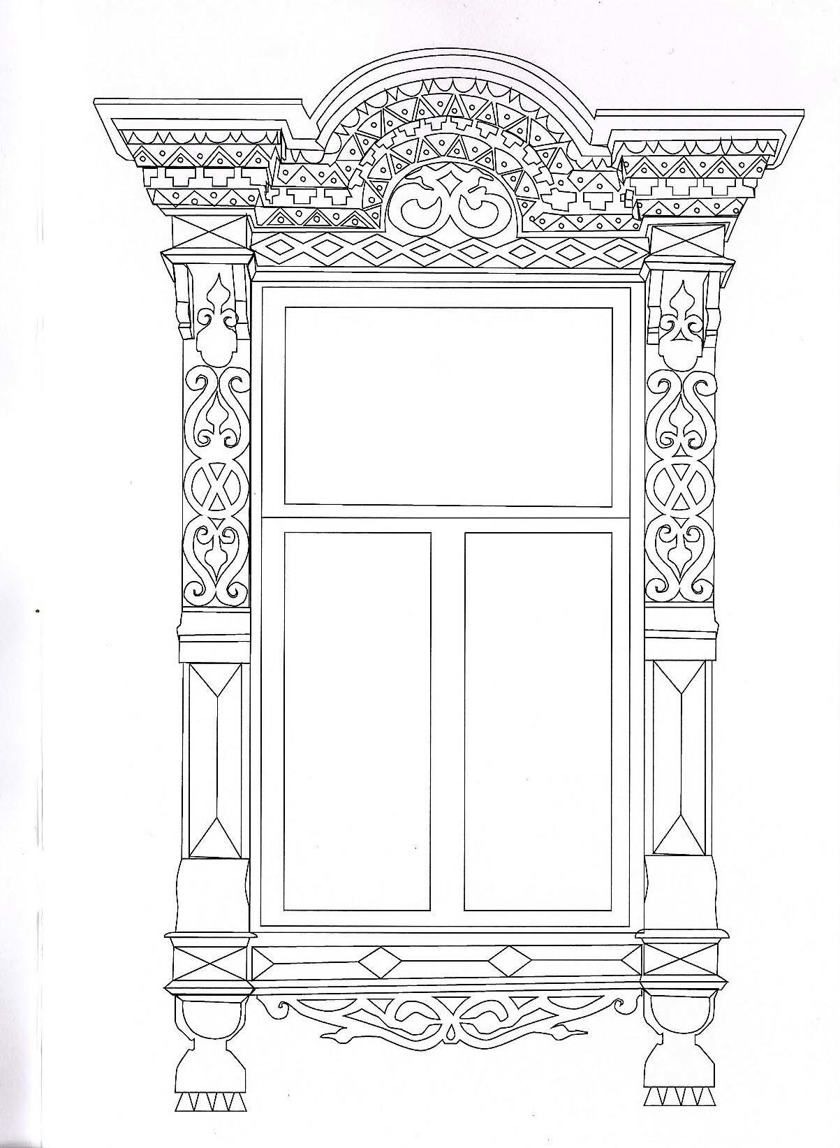 Шаблоны резных наличников на окна чертежи, рисунки, эскизы 12
